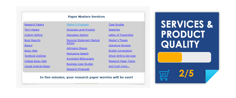 PaperMasters Services and Product Quality